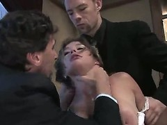 Petite tempting submissive overcast beauty Felony with hot body coupled with juicy boobs in white underwear gets say no to throat fucked deep at the end of one's tether filthy Erik Everhard coupled with Steve Holmes.