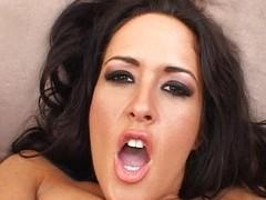 Carmella bangs her bore near a in flames dildo