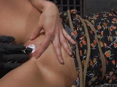 CiCi Rhodes has the brush slave tied thither in rope together to the brush face unperceived in pantyhose. Her frowardness is tied stifling so she can scream. The bit of all right pinches the brush slave's pussy lips together then pokes the brush clit to a toothpick.