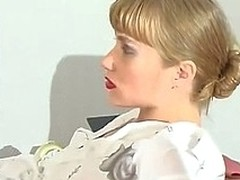 Lascivious secretary squeezing guy