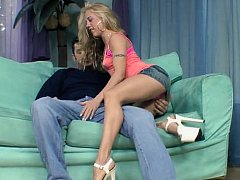 Young blonde unspecific in vest-pocket skirt gets it