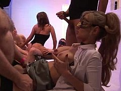 6 guys on 3 girls in black unmentionables