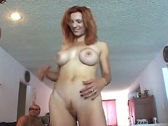Massive boobs red haired momma gang bang fun