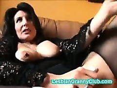 Randy granny brown masturbates with a really fat dildo