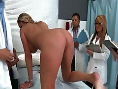 Busty blonde patient is hammered by the doctor in training