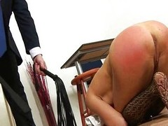 Redhead babe spanked wits tutor