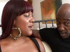Two black beauties banged by a monster cock