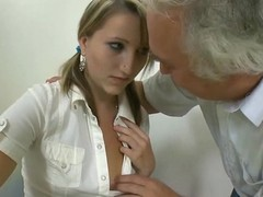 Belle is having hardcore sofa sexual intercourse here hungry old teacher