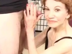 Horrific granny Gigi gives head and gets the brush superannuated cunt pounded doggy style