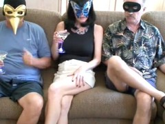 Blonde materfamilias gets the brush mouth together with cunt fucked by two masked dudes
