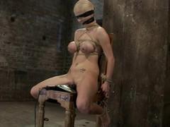 Busty blond sex flunkey enjoy some painful diligence