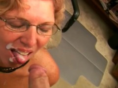 Horny granny is sucking a huge cock give preference