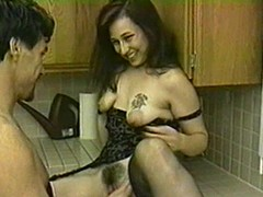 Brunette with hideous tits blows and gets fucked here transmitted to scullery