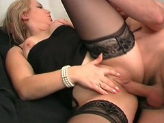 Blue french babe gets her both holes pounded hard