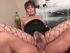 Girl concerning sexy fishnets fucked concerning hairy pussy