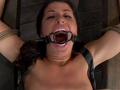 Slavemaster is giving gagged chick a depreciatory wet crack fawning