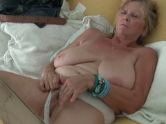 Granny about big special masturbates in pantyhose