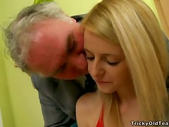 Mature old guy is fingering be passed on small vagina aperture of blonde babe